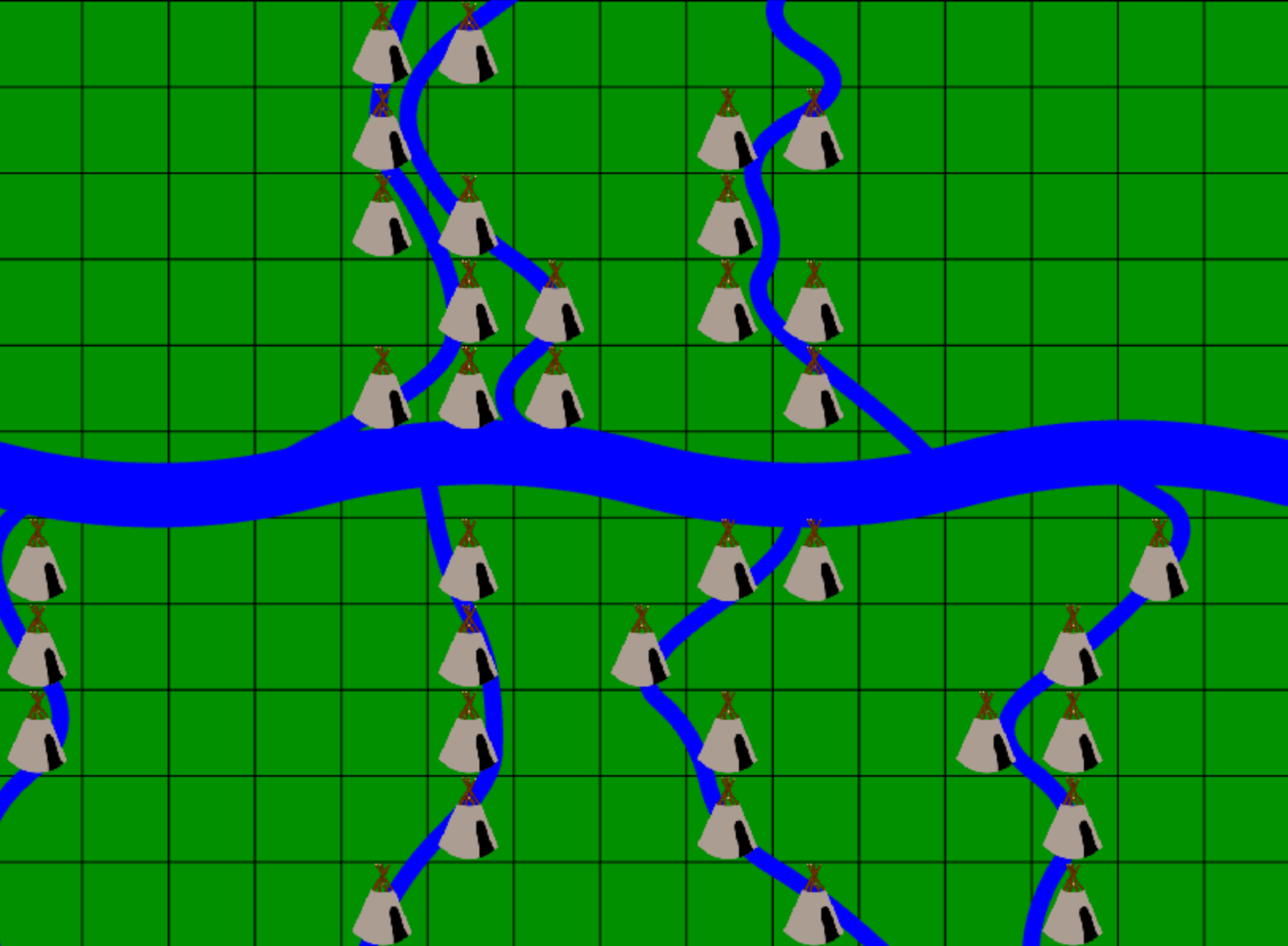 Image: Generated map example with all possible village positions